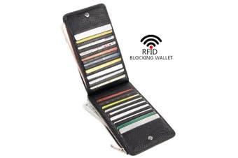 (Black) - Yafeige RFID Blocking Women's Genuine Leather Multi Card Wallet with Zip Pocket