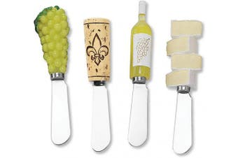 (White Wine Party) - Mr. Spreader 4-Piece White Wine Hand Painted Resin Handle with Stainless Steel Blade Cheese Spreader, for Cheese Lover, Wine Lover, Wine Theme Party and Everyday Use
