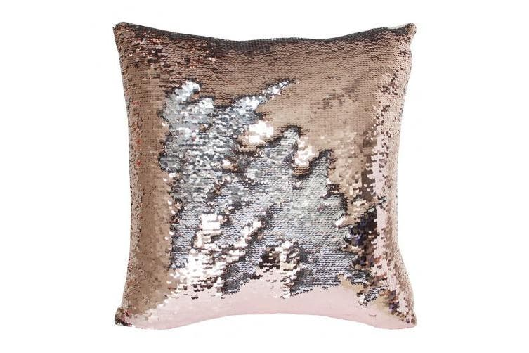 (Champagne Gold-Silver) - Mermaid Pillow Case, Play Tailor Magic Reversible Sequin Pillow Cover Throw Cushion Case 41cm x 41cm