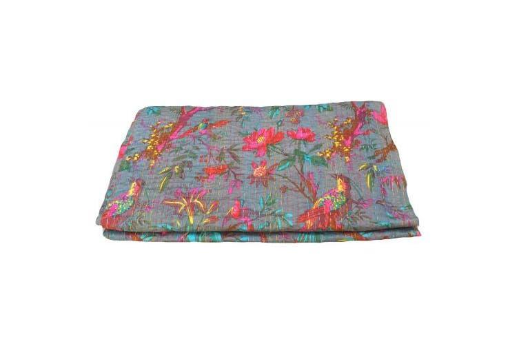 Bird Print King Size Kantha Quilt Grey , Kantha Blanket, Bed Cover, King Kantha bedspread, Bohemian Bedding Kantha Size 230cm x 270cm
