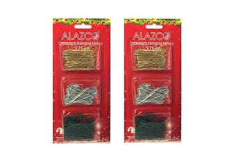 (750pc Set (Gold, Green & Silver)) - Value Set of 750pc Ornament Hanging Hooks in GOLD, SILVER & GREEN (250pc each) - Mix & Match Holiday Ornaments Decorations Tree, Garlands & Wreaths - By ALAZCO