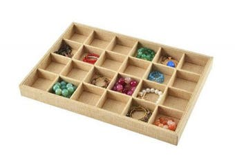 (24 Grid) - Autoark Sackcloth Stackable 24 Grid Jewellery Tray Showcase Display Organiser,AJ-002