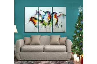 "(framed) - ARTLAND Modern 100% Hand Painted framed Wall Art ""Colourful Birds"" 3-Piece Animal Oil Painting on Canvas for Living Room Artwork for Wall Decor Home Decoration 70cm x 110cm"