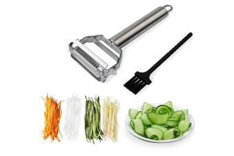 (Julienne) - Sunkuka Julienne Peeler Stainless Steel Cutter Slicer with Cleaning Brush Pro for Carrot Potato Melon Gadget Vegetable Fruit