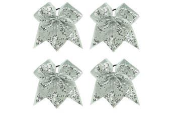 (4pcs Sliver Cheer Bows) - CN Sequin Cheer Bow Big School Colour Hair Bow With Elastic Tie For Cheerleading Girls