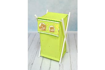 (Window green) - BABY LAUNDRY BASKET NURSERY HAMPER BAG STORAGE BIN WITH REMOVABLE LINEN 70 LITRE WHITE FRAME (Window green)