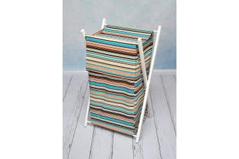 (Brown stripes) - BABY LAUNDRY BASKET NURSERY HAMPER BAG STORAGE BIN WITH REMOVABLE LINEN 70 LITRE WHITE FRAME (Brown stripes)