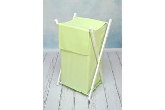 (Green) - BABY LAUNDRY BASKET NURSERY HAMPER BAG STORAGE BIN WITH REMOVABLE LINEN 70 LITRE WHITE FRAME (Green)
