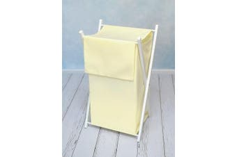 (Cream) - BABY LAUNDRY BASKET NURSERY HAMPER BAG STORAGE BIN WITH REMOVABLE LINEN 70 LITRE WHITE FRAME (Cream)