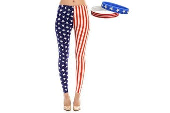 (Medium, Stars & Stripes) - American Flag Patriotic Leggings and Bracelet Bundle