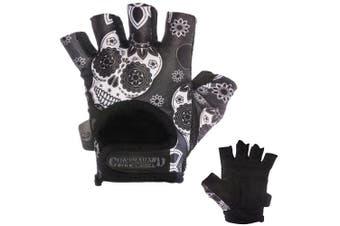 (Large, Gray) - Contraband Pink Label 5237 Womens Design Series Sugar Skull Lifting Gloves (Pair) - Lightweight Vegan Medium Padded Microfiber Amara Leather w/Griplock Silicone