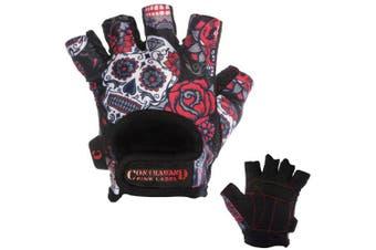(Large, Red) - Contraband Pink Label 5237 Womens Design Series Sugar Skull Lifting Gloves (Pair) - Lightweight Vegan Medium Padded Microfiber Amara Leather w/Griplock Silicone