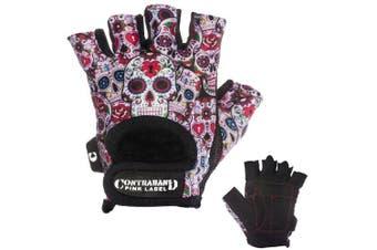 (X-Small, White) - Contraband Pink Label 5237 Womens Design Series Sugar Skull Lifting Gloves (Pair) - Lightweight Vegan Medium Padded Microfiber Amara Leather w/Griplock Silicone