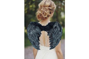 (Black 45*35 Cm) - AISHN Angel Wings Feather Cosplay Halloween Party Costumes