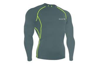 (XX-Large, Grey) - BALEAF Men's Cool Dry Skin Fit Long Sleeve Compression Shirt