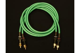 Van Damme Green Ultra Analogue Interconnect Pair Cable 3 Metre Length Terminated With High Quality Gold Plated RCA Phono Plugs.