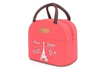 (Red) - Muitifunction Cute Canvas Bento Lunch Bag for Picnic Travel Tote Lunch Bag with Zipper Stylish (Red)