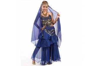 (One size, Dark Blue) - Best Dance Women's Belly Dance Costume Dress Skirt Sequins Beads Bells Top Belt Gold Coins Dark Blue