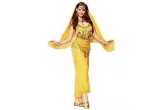 (3Pcs Set, Yellow) - Best Dance Women Belly Dance Costume Set Yellow