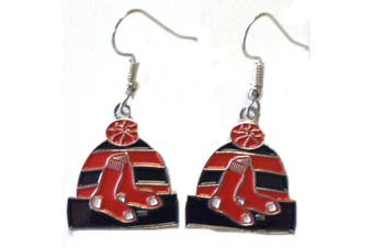 (Boston Red Sox) - MLB Licenced Beanie Knit Hat Dangle Earrings
