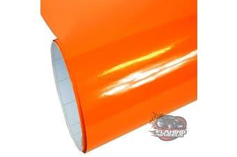 (Orange, 50m) - Self Adhesive Sticky Back Gloss White Sign Vinyl (Orange, 50m)