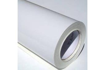 (White, 10m) - Self Adhesive Sticky Back Gloss White Sign Vinyl (White, 10m)