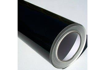 (Black, 2m) - Self Adhesive Sticky Back Gloss White Sign Vinyl (Black, 2m)