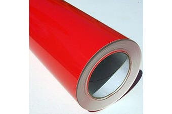 (Red, 1m) - Self Adhesive Sticky Back Gloss White Sign Vinyl (Red, 1m)