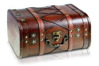 (Janis XL 32x26x20cm) - Brynnberg - Pirate Treasure Chest Storage Box - Durable Wood & Metal Construction - Unique, Handmade Vintage Design With A Front Lock - Striking Decorative Element - The Best Gift (Janis XL 32x26x20cm)