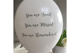 25 Funeral Remembrance Balloons for Release 'You are Loved, Missed, Remembered' - by Angel & Dove