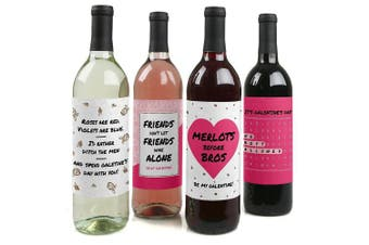 Be My Galentine - Valentine's Day Party Decorations for Women and Men - Wine Bottle Label Stickers - Set of 4