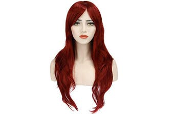 (wine red) - Long Red Wigs Red Curly Wig Women's Long Curly Wigs Cosplay Wigs with Wig Cap