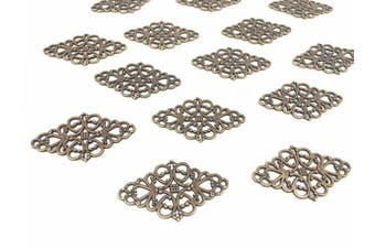 (style 1# Antique Bronze) - 40pcs Filigree Flower Plate Charms,Hollowed-out Rhombic Pendant Connector for DIY Jewellery Making Wrapping Accessories By Alimitopia(Antique Bronze Tone)