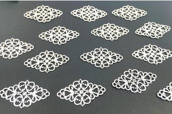 (style1# Antique Silver) - 40pcs Filigree Flower Plate Charms,Hollowed-out Rhombic Pendant Connector for DIY Jewellery Making Wrapping Accessories By Alimitopia(Antique Silver Tone)
