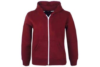 (9-10 Years, Burgendy New Style) - A2Z 4 Kids® Kids Girls & Boys Unisex Plain Fleece Hoodie Zip Up Style Zipper Age 5 6 7 8 9 10 11 121 3 Years