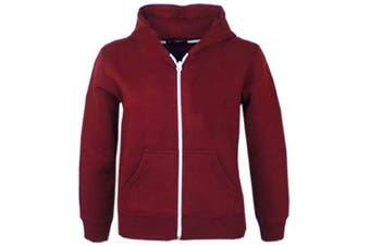 (5-6 Years, Burgendy New Style) - A2Z 4 Kids® Kids Girls & Boys Unisex Plain Fleece Hoodie Zip Up Style Zipper Age 5 6 7 8 9 10 11 121 3 Years