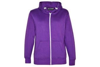 (11-12 Years, Purple New Style) - A2Z 4 Kids® Kids Girls & Boys Unisex Plain Fleece Hoodie Zip Up Style Zipper Age 5 6 7 8 9 10 11 121 3 Years