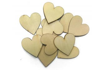 (1.9cm  100pcs) - ALL in ONE Natural Unfinished Cutout Shape Wooden Hearts for DIY home decoration (1.9cm 100pcs)