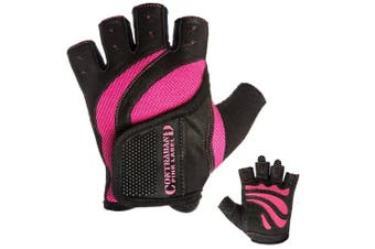 (X-Small, Pink) - Contraband Pink Label 5437 EXTREME Grip Weight Lifting Gloves w/ Rubber Padded Palm