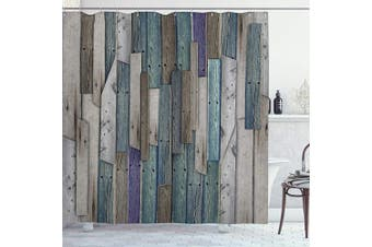 (180cm  Long) - Ambesonne Rustic Shower Curtain, Image of Blue Grey Grunge Wood Planks Barn House Door Nails Country Life Theme Print, Cloth Fabric Bathroom Decor Set with Hooks, 180cm Long, Teal Purple