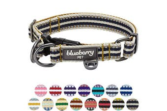 (Regular Collar - Large, Olive and Blue-gray) - Blueberry Pet 10 Colours Multi-Coloured Stripe Collection - 3M Reflective Collars, Harnesses, Leashes, Seatbelts or Lanyards