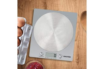 (Silver) - Salter Digital Kitchen Weighing Scales - Slim Design Electronic Cooking Appliance for Home / Kitchen, Weigh Food up to 5kg + Aquatronic for Liquids ml and fl. Oz. 15Yr Guarantee - Silver