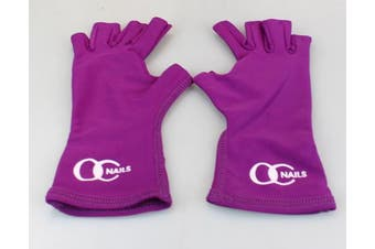 (Petite, Amethyst) - OC Nails UV Shield Glove (AMETHYST ~ PETITE) Anti UV Glove for Gel Manicures with UV/LED Lamps