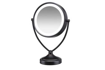 (Oiled Bronze Finish) - Conair Natural Daylight Double-Sided Lighted Makeup Mirror - Lighted Vanity Makeup Mirror; 1x/10x magnification; Oiled Bronze Finish