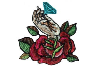 (Large, Red rose) - Rose flower with diamond patch iron on applique sew (Large, Red rose)