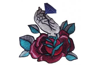 (Large, Burgundy rose) - Rose flower with diamond patch iron on applique sew (Large, Burgundy rose)
