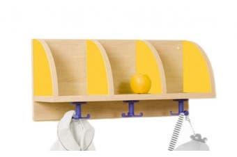 (Yellow, 61 x 28 x 22 cm) - Mobeduc 3 Compartments Coat Rack 605, 61 x 28 x 22 cm
