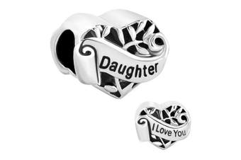 """Fit Pandora Charms Silver Plated I Love You Daughter Heart Filigree Charm Bead (4.8-5mm), 0.42"""""""