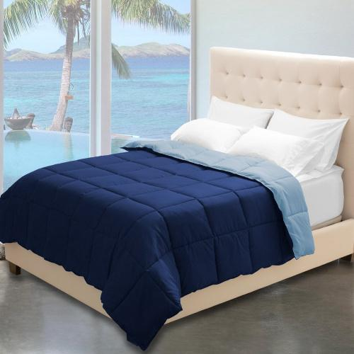 Full Queen Dark Blue Light Blue Bare Home Reversible Comforter Queen Size Goose Down Alternative Ultra Soft Premium 1800 Series Hypoallergenic All Season Breathable Warmth Queen Dark Blue Light Blue Matt Blatt