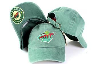 (Adjustable, Minnesota Wild) - NHL American Needle New Raglin Cotton Twill Adjustable Dad Cap